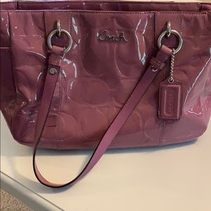 Patent leather coach tote